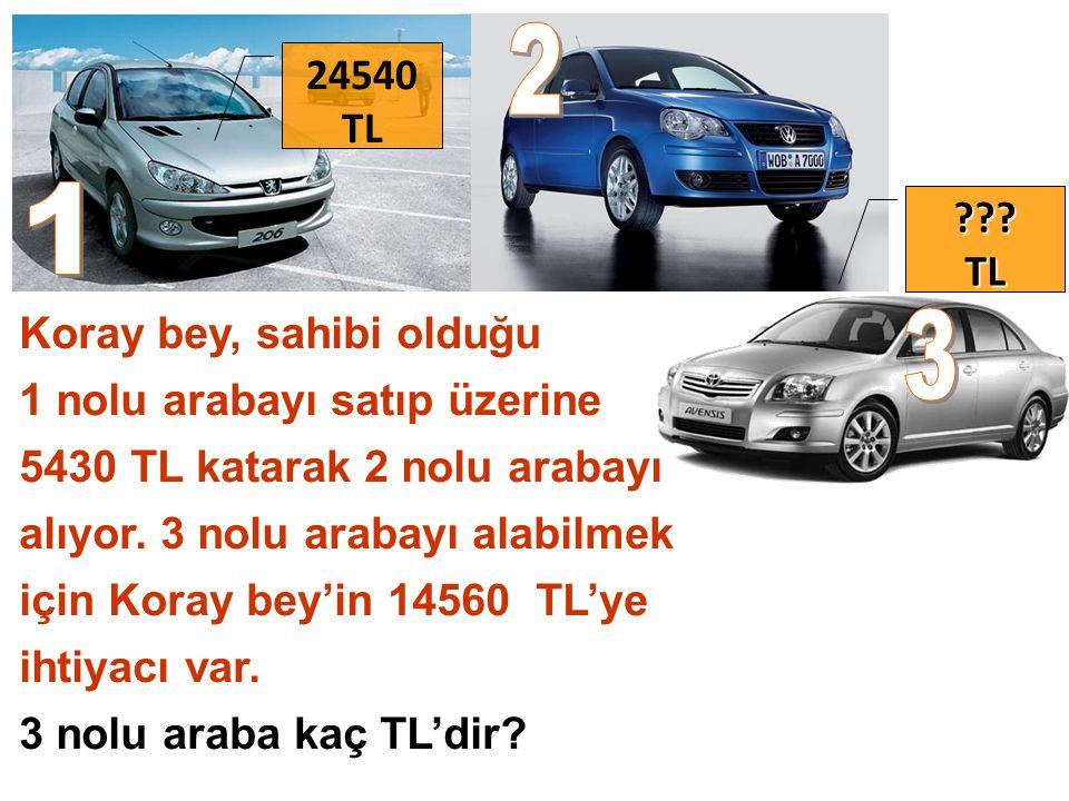 Koray bey, sahibi olduğu 1 nolu arabayı satıp üzerine 5430 TL katarak 2 nolu arabayı alıyor.
