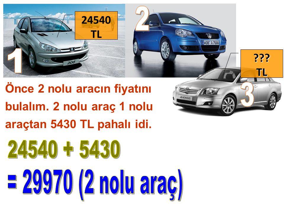 Önce 2 nolu aracın fiyatını bulalım. 2 nolu araç 1 nolu araçtan 5430 TL pahalı idi. TL