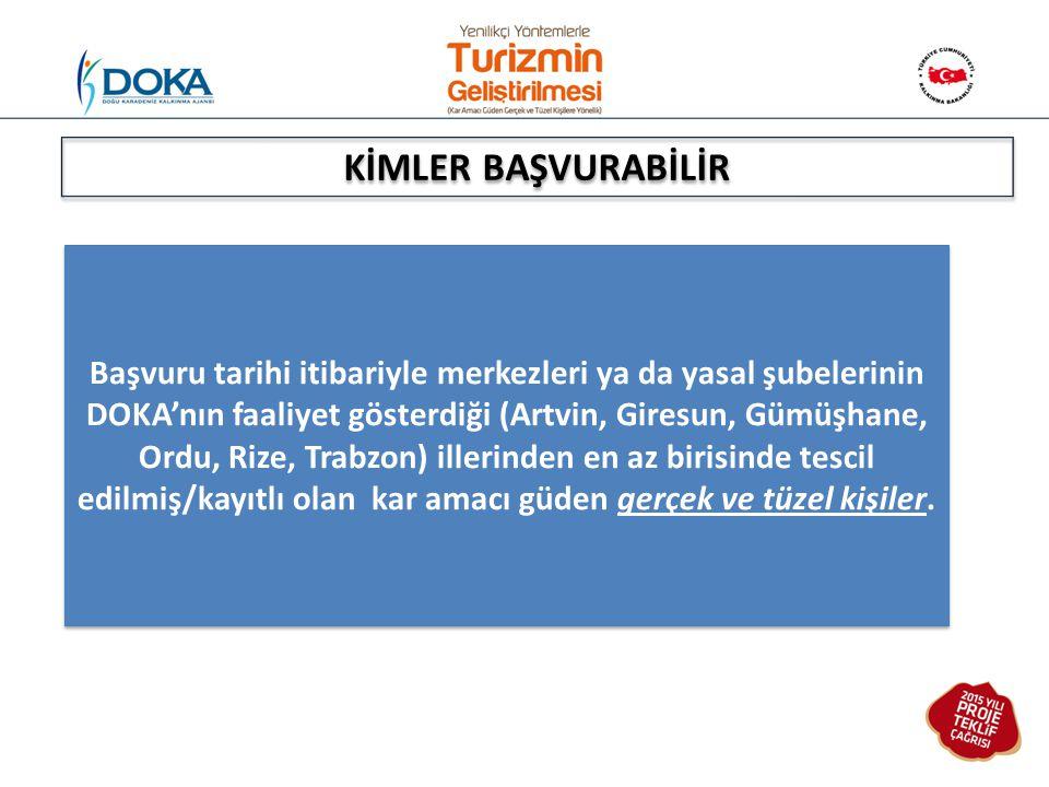 Başvuru tarihi itibariyle merkezleri ya da yasal şubelerinin DOKA'nın faaliyet gösterdiği (Artvin, Giresun, Gümüşhane, Ordu, Rize, Trabzon) illerinden