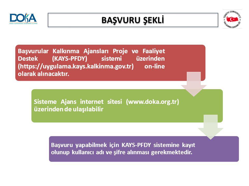 BAŞVURU ŞEKLİ Başvurular Kalkınma Ajansları Proje ve Faaliyet Destek (KAYS-PFDY) sistemi üzerinden (https://uygulama.kays.kalkinma.gov.tr) on-line ola
