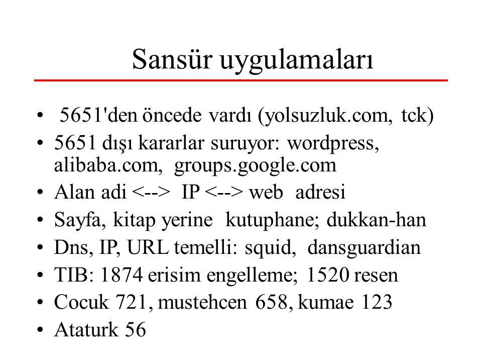 Sansür uygulamaları 5651 den öncede vardı (yolsuzluk.com, tck) 5651 dışı kararlar suruyor: wordpress, alibaba.com, groups.google.com Alan adi IP web adresi Sayfa, kitap yerine kutuphane; dukkan-han Dns, IP, URL temelli: squid, dansguardian TIB: 1874 erisim engelleme; 1520 resen Cocuk 721, mustehcen 658, kumae 123 Ataturk 56