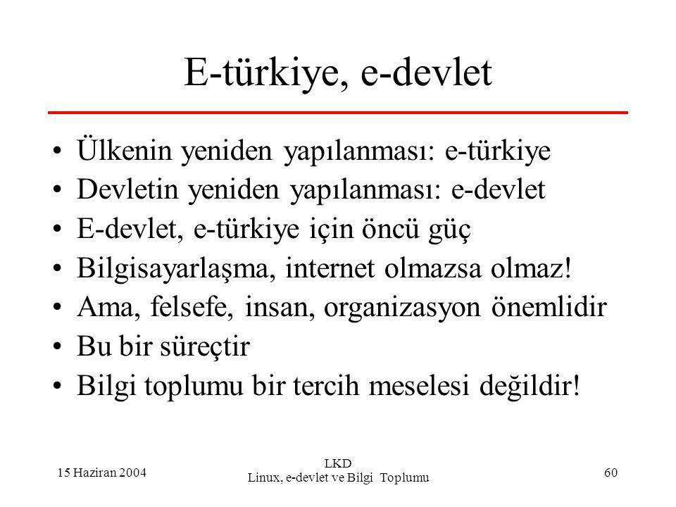 15 Haziran 2004 LKD Linux, e-devlet ve Bilgi Toplumu 60 E-türkiye, e-devlet Ülkenin yeniden yapılanması: e-türkiye Devletin yeniden yapılanması: e-devlet E-devlet, e-türkiye için öncü güç Bilgisayarlaşma, internet olmazsa olmaz.