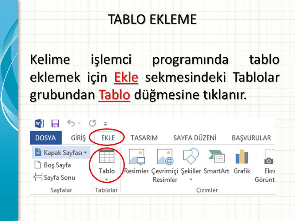TABLO EKLEME A-Kısmı : Bu kısmın üzerine gelip tıklatıldığında Tablo ekle alanı aktif olur.