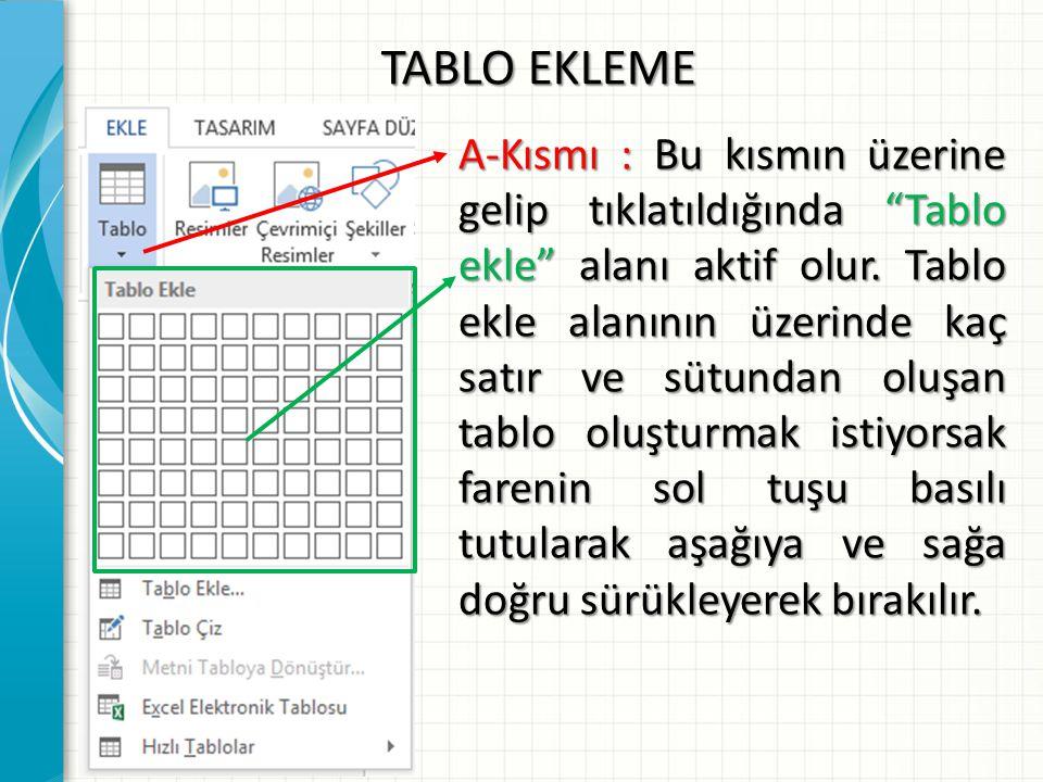 """TABLO EKLEME A-Kısmı : Bu kısmın üzerine gelip tıklatıldığında """"Tablo ekle"""" alanı aktif olur. Tablo ekle alanının üzerinde kaç satır ve sütundan oluşa"""