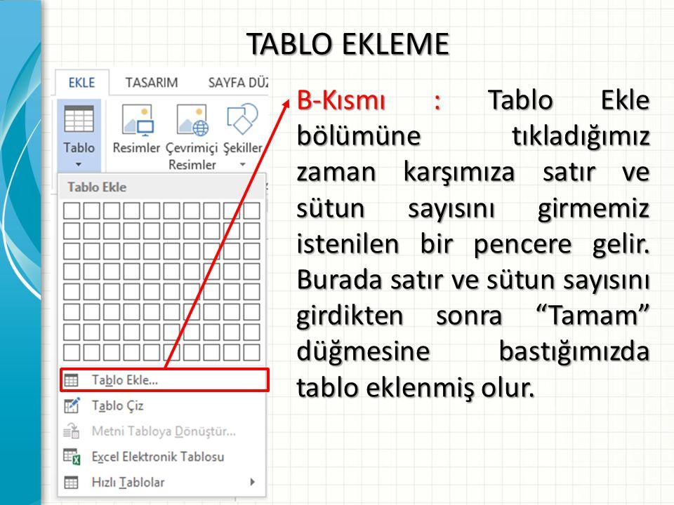 TABLO EKLEME B-Kısmı : Tablo Ekle bölümüne tıkladığımız zaman karşımıza satır ve sütun sayısını girmemiz istenilen bir pencere gelir. Burada satır ve