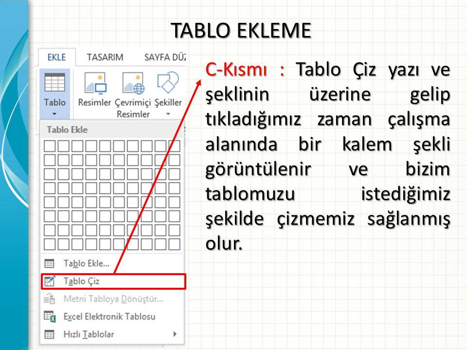 TABLO EKLEME C-Kısmı : Tablo Çiz yazı ve şeklinin üzerine gelip tıkladığımız zaman çalışma alanında bir kalem şekli görüntülenir ve bizim tablomuzu is