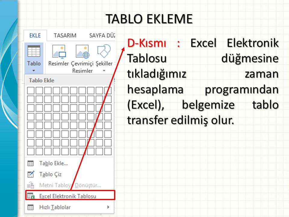 TABLO EKLEME E-Kısmı : Hazır Tablolar seçeneğine tıkladığımız zaman, kelime işlemci programının içinde yer alan hazır tablolardan birini seçip kullanabiliriz.