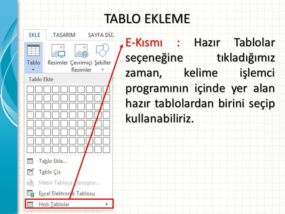 TABLO EKLEME E-Kısmı : Hazır Tablolar seçeneğine tıkladığımız zaman, kelime işlemci programının içinde yer alan hazır tablolardan birini seçip kullana