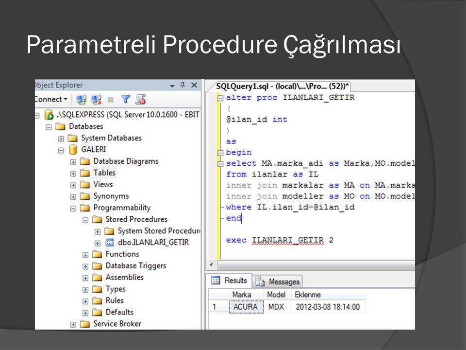 Parametreli Procedure Çağrılması