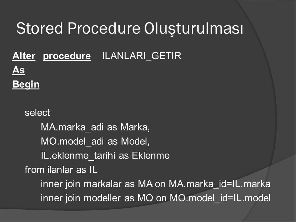 Stored Procedure Oluşturulması Alter procedure ILANLARI_GETIR As Begin select MA.marka_adi as Marka, MO.model_adi as Model, IL.eklenme_tarihi as Eklen