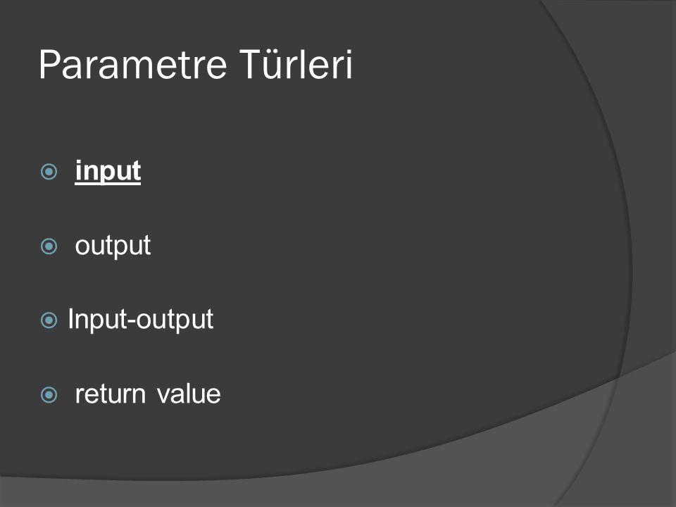 Parametre Türleri  input  output  Input-output  return value
