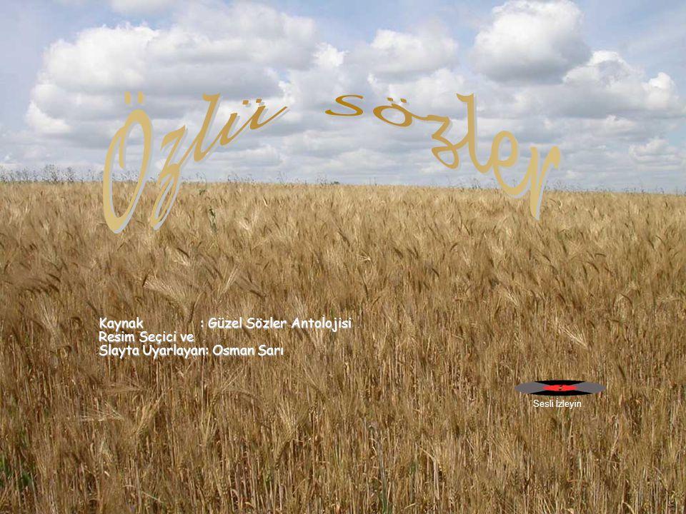 Kaynak : Güzel Sözler Antolojisi Resim Seçici ve Slayta Uyarlayan: Osman Sarı Sesli İzleyin