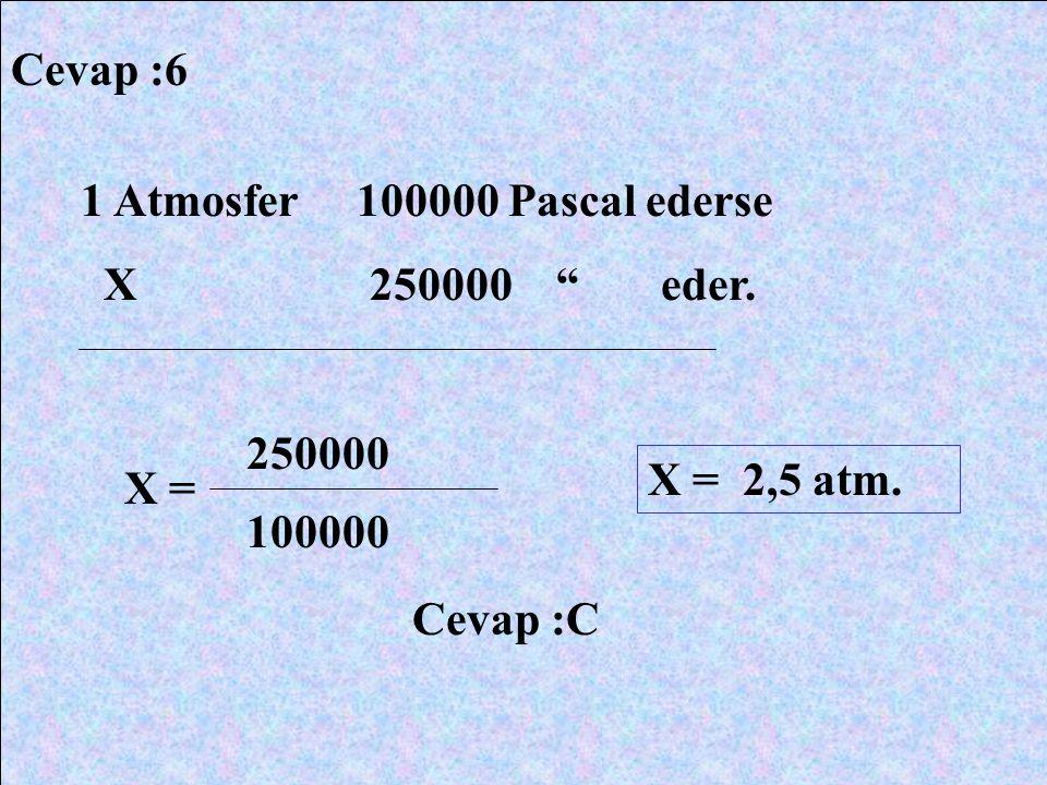 "Cevap :6 1 Atmosfer 100000 Pascal ederse X 250000 "" eder. X = 250000 100000 X = 2,5 atm. Cevap :C"