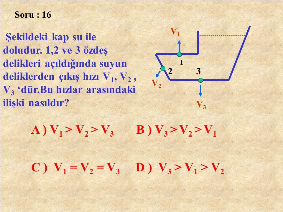 Soru : 16 Şekildeki kap su ile doludur. 1,2 ve 3 özdeş delikleri açıldığında suyun deliklerden çıkış hızı V 1, V 2, V 3 'dür.Bu hızlar arasındaki iliş