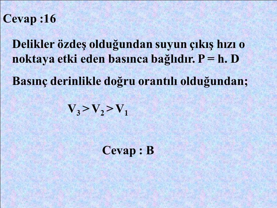 Cevap :16 Delikler özdeş olduğundan suyun çıkış hızı o noktaya etki eden basınca bağlıdır. P = h. D Basınç derinlikle doğru orantılı olduğundan; V 3 >