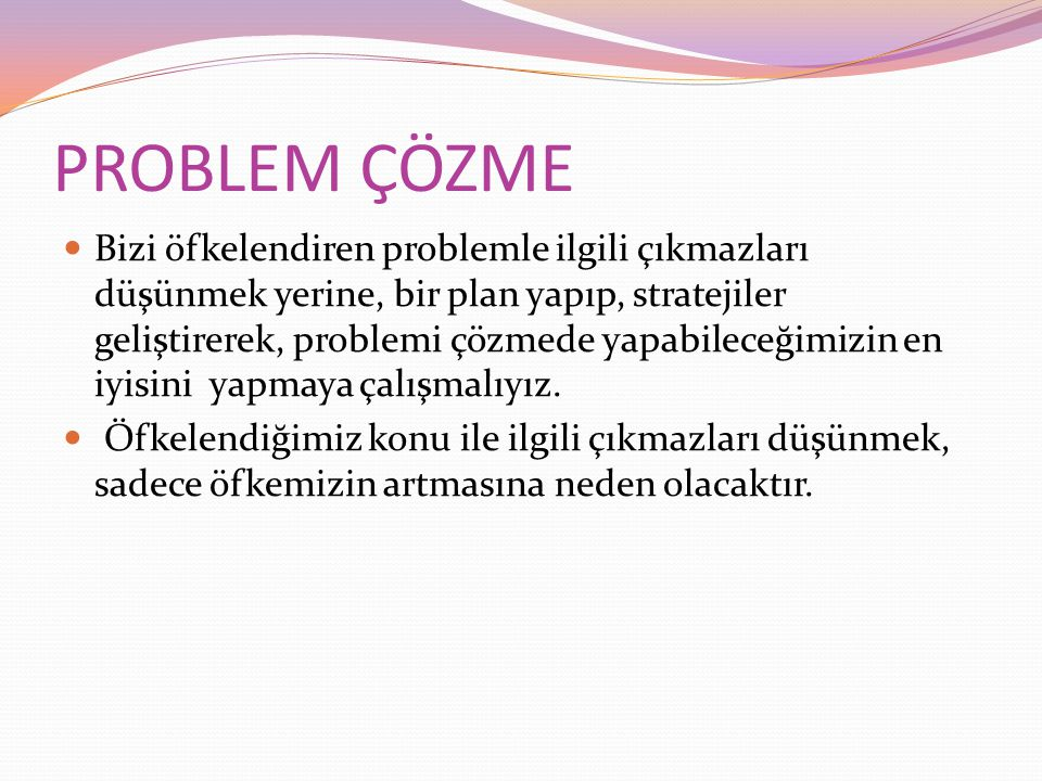 PROBLEM ÇÖZME Bizi öfkelendiren problemle ilgili çıkmazları düşünmek yerine, bir plan yapıp, stratejiler geliştirerek, problemi çözmede yapabileceğimizin en iyisini yapmaya çalışmalıyız.