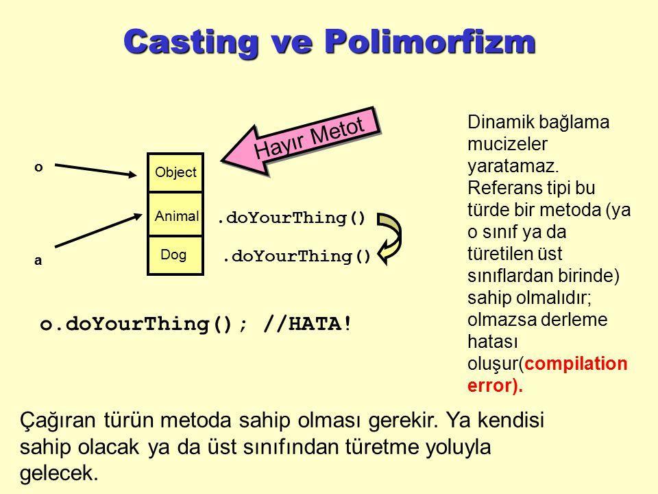 Casting ve Polimorfizm o.doYourThing(); //HATA! Çağıran türün metoda sahip olması gerekir. Ya kendisi sahip olacak ya da üst sınıfından türetme yoluyl