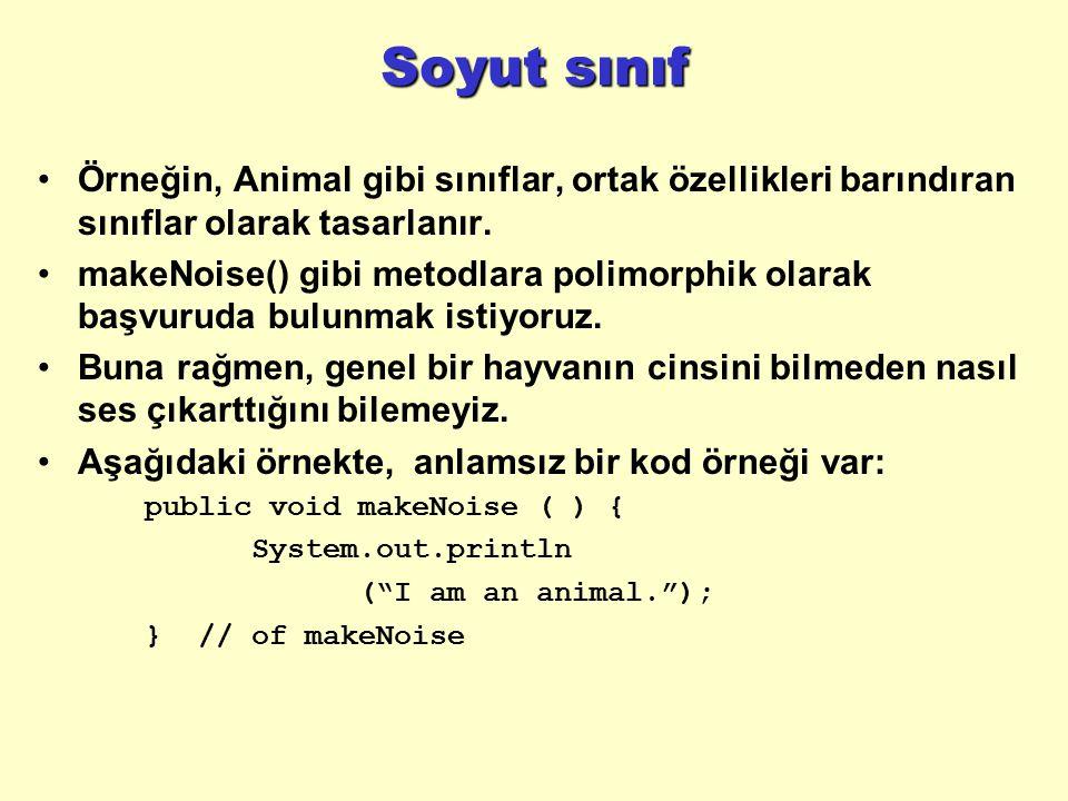 Soyut sınıf Örneğin, Animal gibi sınıflar, ortak özellikleri barındıran sınıflar olarak tasarlanır. makeNoise() gibi metodlara polimorphik olarak başv