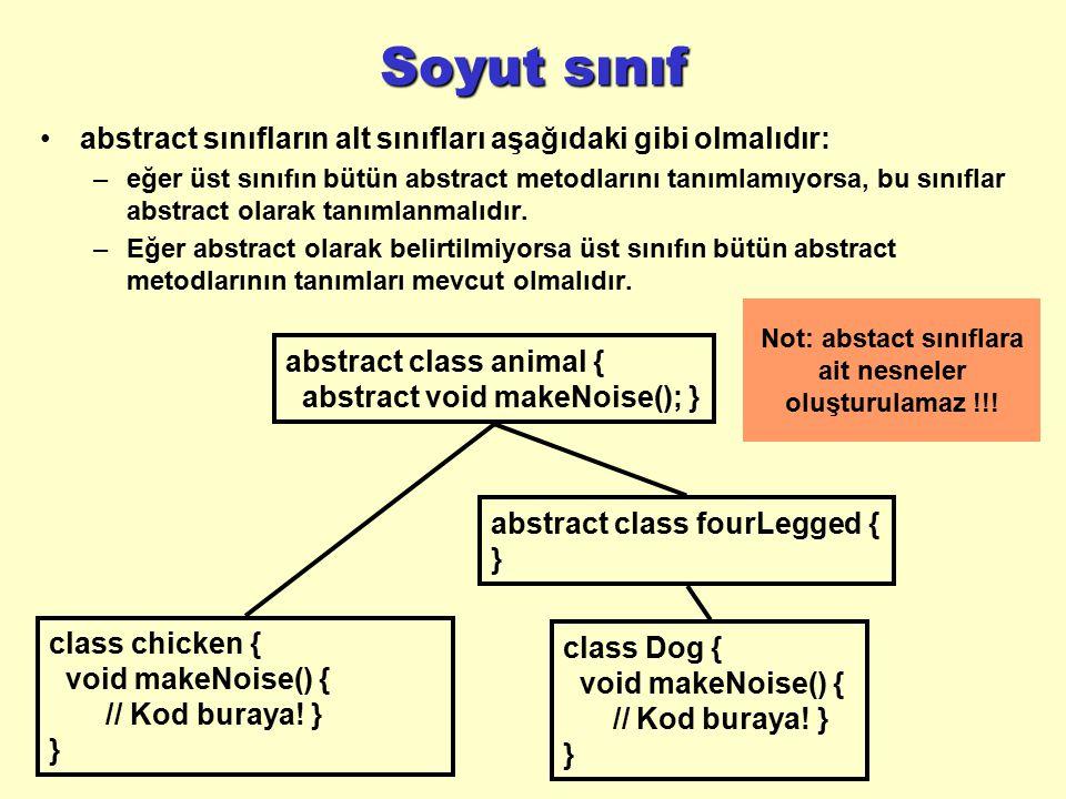 Soyut sınıf abstract sınıfların alt sınıfları aşağıdaki gibi olmalıdır: –eğer üst sınıfın bütün abstract metodlarını tanımlamıyorsa, bu sınıflar abstr