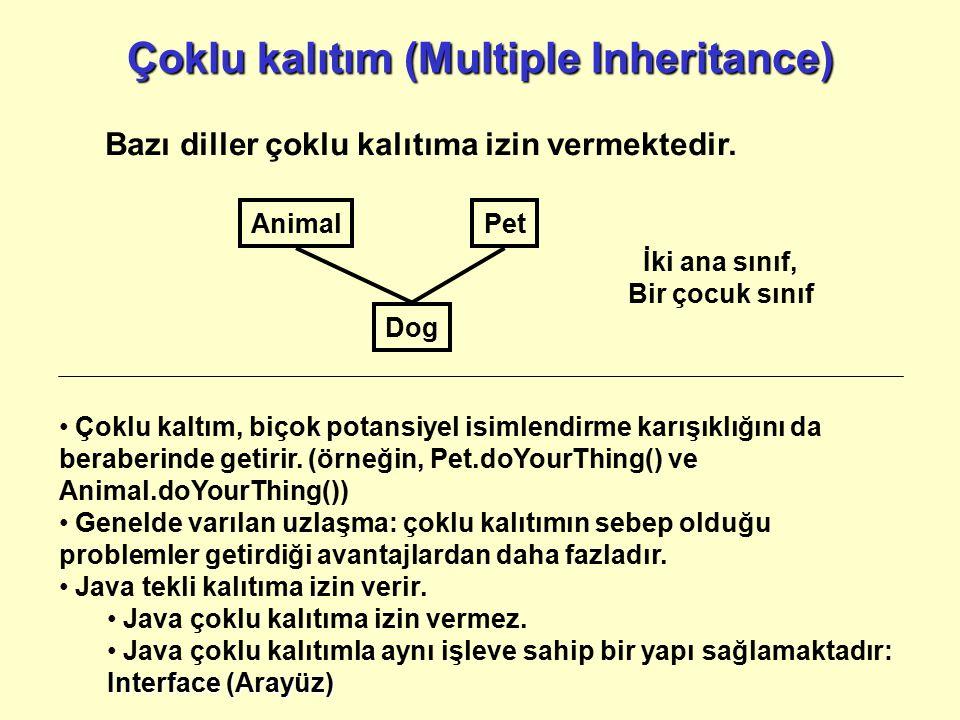 Çoklu kalıtım (Multiple Inheritance) Bazı diller çoklu kalıtıma izin vermektedir. Çoklu kaltım, biçok potansiyel isimlendirme karışıklığını da beraber