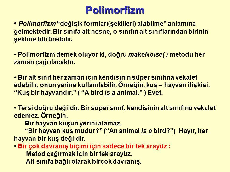 """Polimorfizm Polimorfizm """"değişik formları(şekilleri) alabilme"""" anlamına gelmektedir. Bir sınıfa ait nesne, o sınıfın alt sınıflarından birinin şekline"""