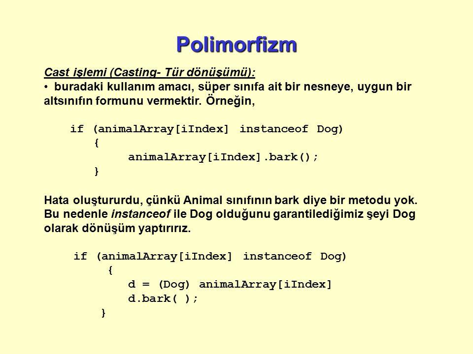 Soyut sınıf Boş bir metod kullanabiliriz: public void makeNoise ( ) { /* Daha sonra tanımlanacak*/ } Bu tabii ki, hiçbir şey yapmaz ve bu metodları işlemek için alt sınıflara bağlıyız.