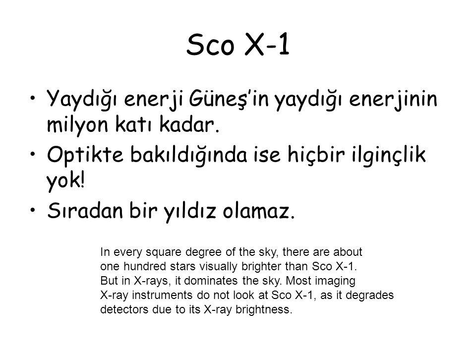 Sco X-1 Yaydığı enerji Güneş'in yaydığı enerjinin milyon katı kadar. Optikte bakıldığında ise hiçbir ilginçlik yok! Sıradan bir yıldız olamaz. In ever