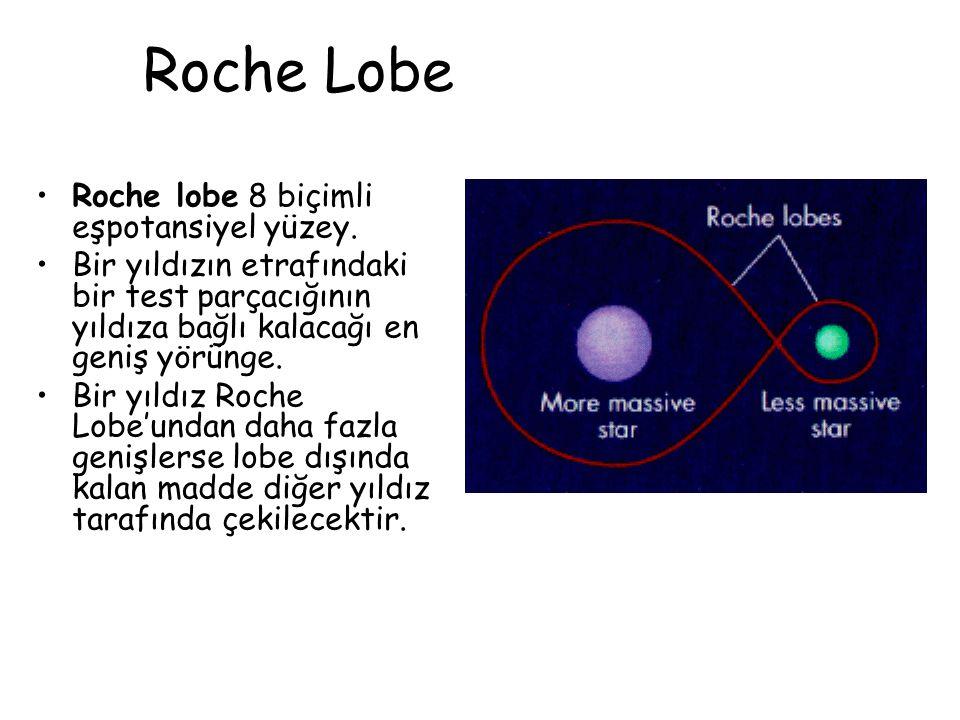 Roche Lobe Roche lobe 8 biçimli eşpotansiyel yüzey. Bir yıldızın etrafındaki bir test parçacığının yıldıza bağlı kalacağı en geniş yörünge. Bir yıldız