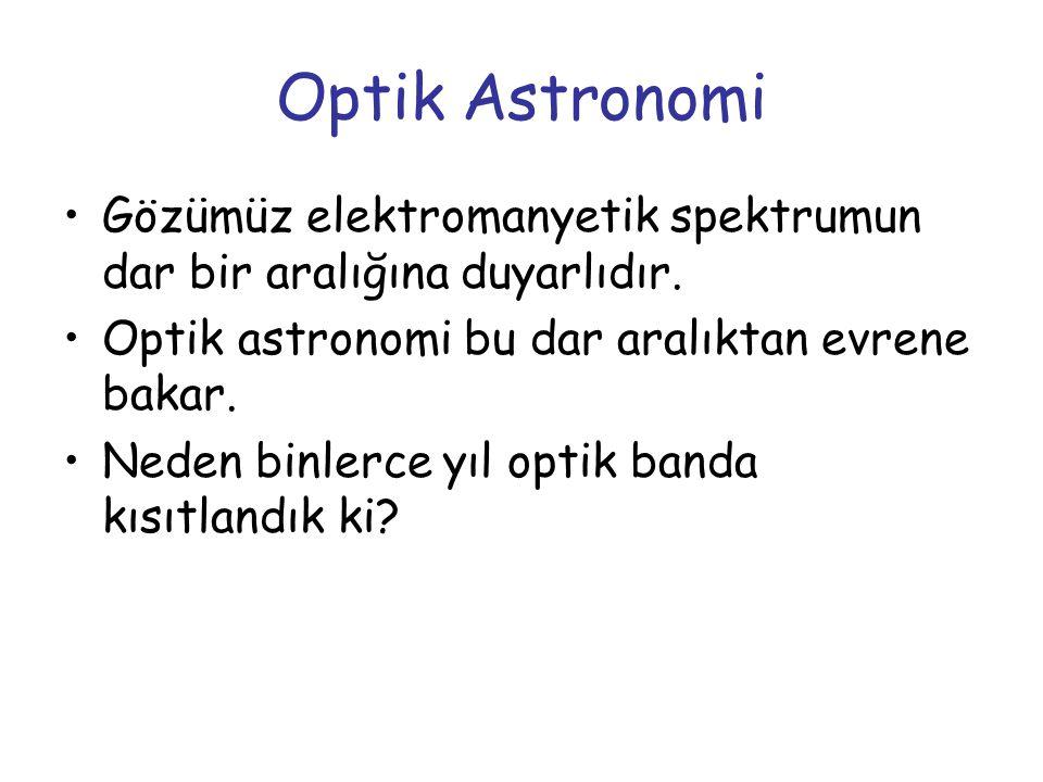 Optik Astronomi Gözümüz elektromanyetik spektrumun dar bir aralığına duyarlıdır. Optik astronomi bu dar aralıktan evrene bakar. Neden binlerce yıl opt