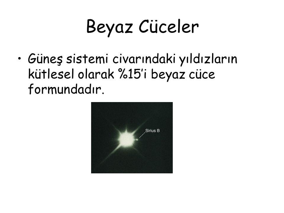 Beyaz Cüceler Güneş sistemi civarındaki yıldızların kütlesel olarak %15'i beyaz cüce formundadır.