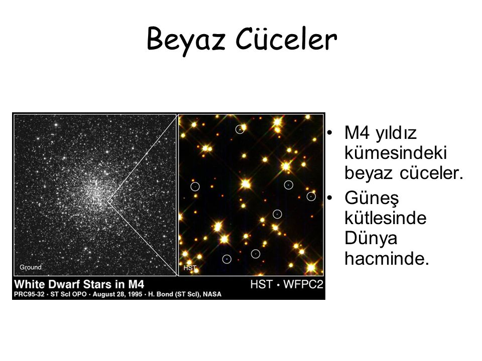 Beyaz Cüceler M4 yıldız kümesindeki beyaz cüceler. Güneş kütlesinde Dünya hacminde.