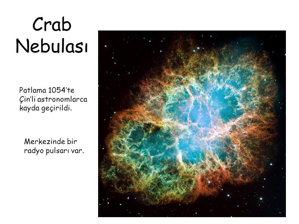 Crab Nebulası Patlama 1054'te Çin'li astronomlarca kayda geçirildi. Merkezinde bir radyo pulsarı var.