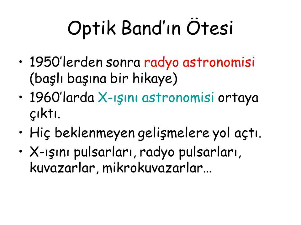 Optik Band'ın Ötesi 1950'lerden sonra radyo astronomisi (başlı başına bir hikaye) 1960'larda X-ışını astronomisi ortaya çıktı. Hiç beklenmeyen gelişme