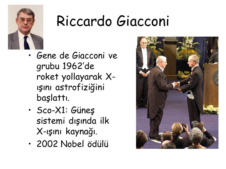 Riccardo Giacconi Gene de Giacconi ve grubu 1962'de roket yollayarak X- ışını astrofiziğini başlattı. Sco-X1: Güneş sistemi dışında ilk X-ışını kaynağ