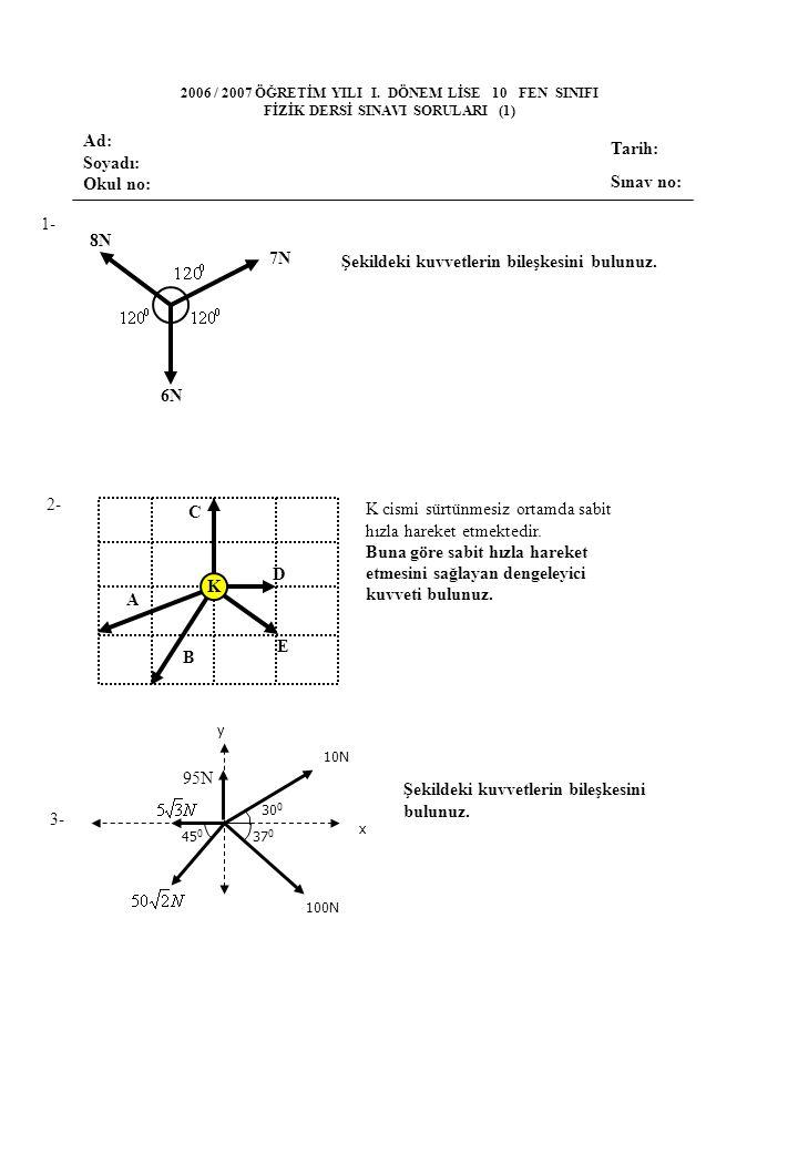4- 5- 6- 4cm Şekildeki kürenin yarıçapı 10 cm ve ağırlığı 80 N dur.F 1 ve F 2 kuvvetleri bu küreyi ayrı ayrı basamaktan çıkarabildiklerine göre bu kuvvetlerin oranı kaçtır.