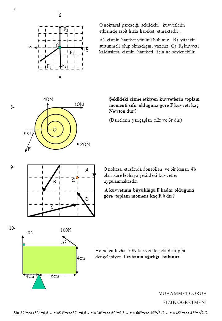 MUHAMMET ÇORUH FİZİK ÖĞRETMENİ 7- 10- 9- 8- Sin 37 0 =cos 53 0 =0,6 - sin53 0 =cos37 0 =0,8 - sin 30 0 =cos 60 0 =0,5 - sin 60 0 =cos 30 0  3 /2 - sin 45 0 =cos 45 0 =  2 /2 +x -x +y O noktasal parçacığı şekildeki kuvvetlerin etkisinde sabit hızla hareket etmektedir.