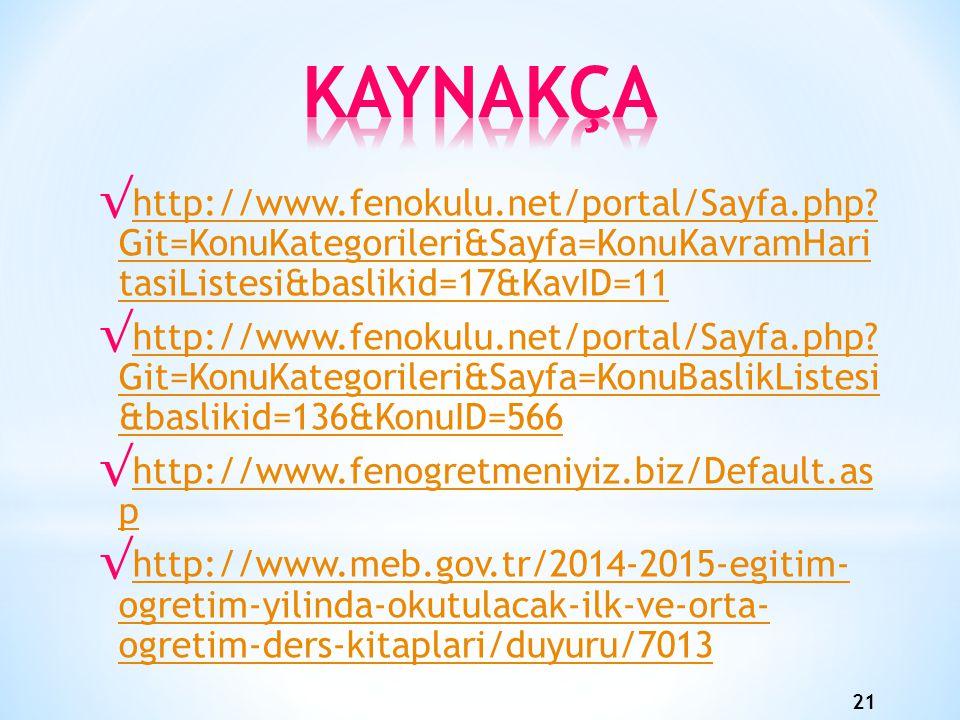 21 √ http://www.fenokulu.net/portal/Sayfa.php.