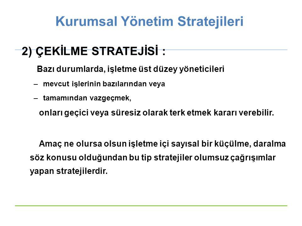 Kurumsal Yönetim Stratejileri 2) ÇEKİLME STRATEJİSİ : Bazı durumlarda, işletme üst düzey yöneticileri –mevcut işlerinin bazılarından veya –tamamından
