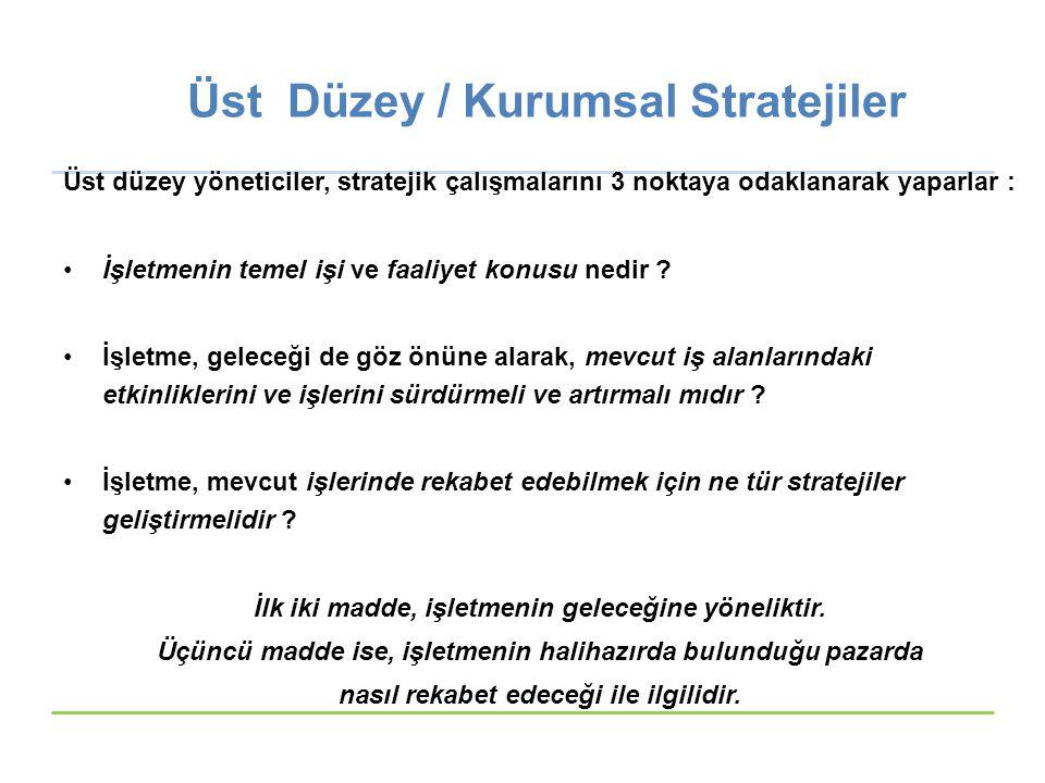 Üst Düzey / Kurumsal Stratejiler Üst düzey yöneticiler, stratejik çalışmalarını 3 noktaya odaklanarak yaparlar : İşletmenin temel işi ve faaliyet konu