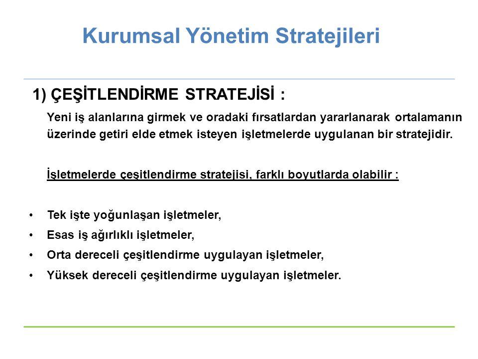 Kurumsal Yönetim Stratejileri 1) ÇEŞİTLENDİRME STRATEJİSİ : Yeni iş alanlarına girmek ve oradaki fırsatlardan yararlanarak ortalamanın üzerinde getiri