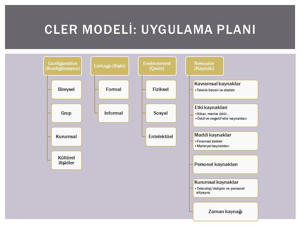 Configuration (Konfigürasyon) BireyselGrupKurumsal Kültürel ilişkiler Linkage (İlişki)FormalInformal Environment (Çevre) FizikselSosyalEntelektüel Resource (Kaynak) Kavramsal kaynaklar Teknik beceri ve destek Etki kaynakları İtibar, marka ödül...