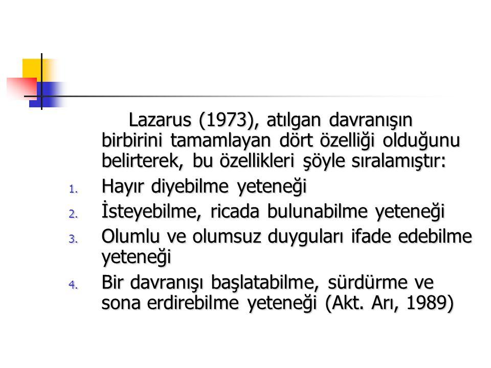 Lazarus (1973), atılgan davranışın birbirini tamamlayan dört özelliği olduğunu belirterek, bu özellikleri şöyle sıralamıştır: Lazarus (1973), atılgan