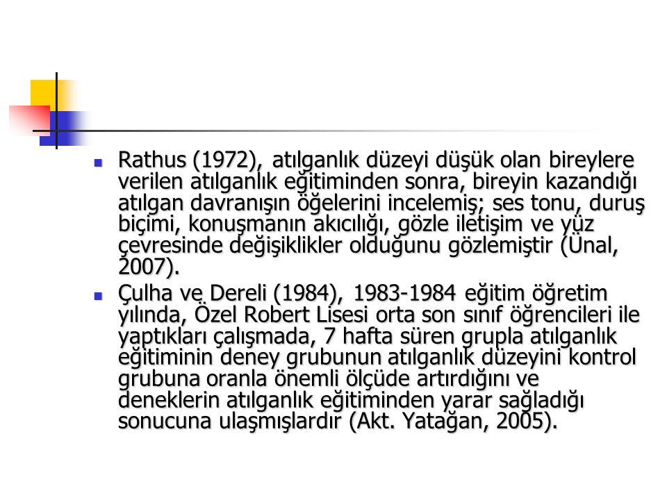 Rathus (1972), atılganlık düzeyi düşük olan bireylere verilen atılganlık eğitiminden sonra, bireyin kazandığı atılgan davranışın öğelerini incelemiş;