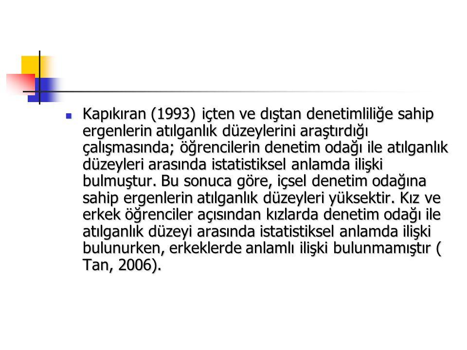 Kapıkıran (1993) içten ve dıştan denetimliliğe sahip ergenlerin atılganlık düzeylerini araştırdığı çalışmasında; öğrencilerin denetim odağı ile atılga