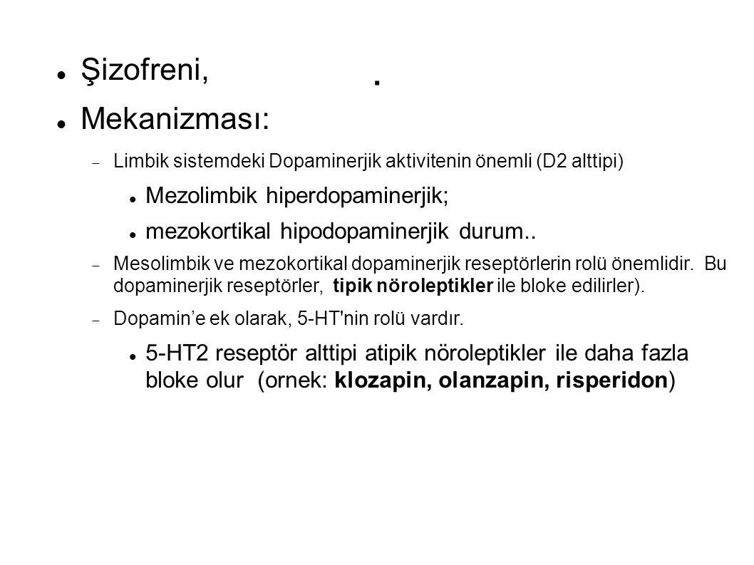 . Şizofreni, Mekanizması:  Limbik sistemdeki Dopaminerjik aktivitenin önemli (D2 alttipi) Mezolimbik hiperdopaminerjik; mezokortikal hipodopaminerjik