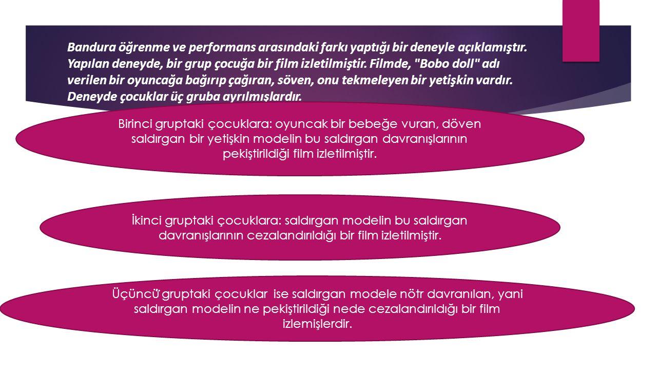 Bandura öğrenme ve performans arasındaki farkı yaptığı bir deneyle açıklamıştır. Yapılan deneyde, bir grup çocuğa bir film izletilmiştir. Filmde,