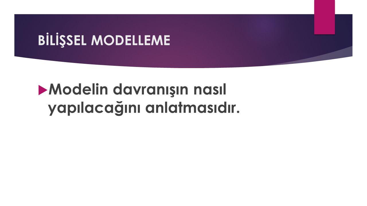 BİLİŞSEL MODELLEME  Modelin davranışın nasıl yapılacağını anlatmasıdır.