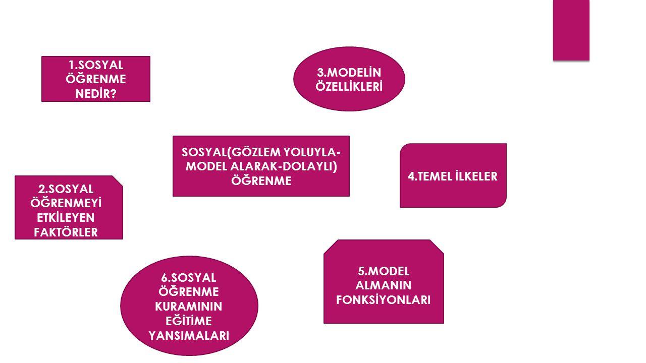 1.SOSYAL ÖĞRENME NEDİR? 3.MODELİN ÖZELLİKLERİ 2.SOSYAL ÖĞRENMEYİ ETKİLEYEN FAKTÖRLER 4.TEMEL İLKELER SOSYAL(GÖZLEM YOLUYLA- MODEL ALARAK-DOLAYLI) ÖĞRE