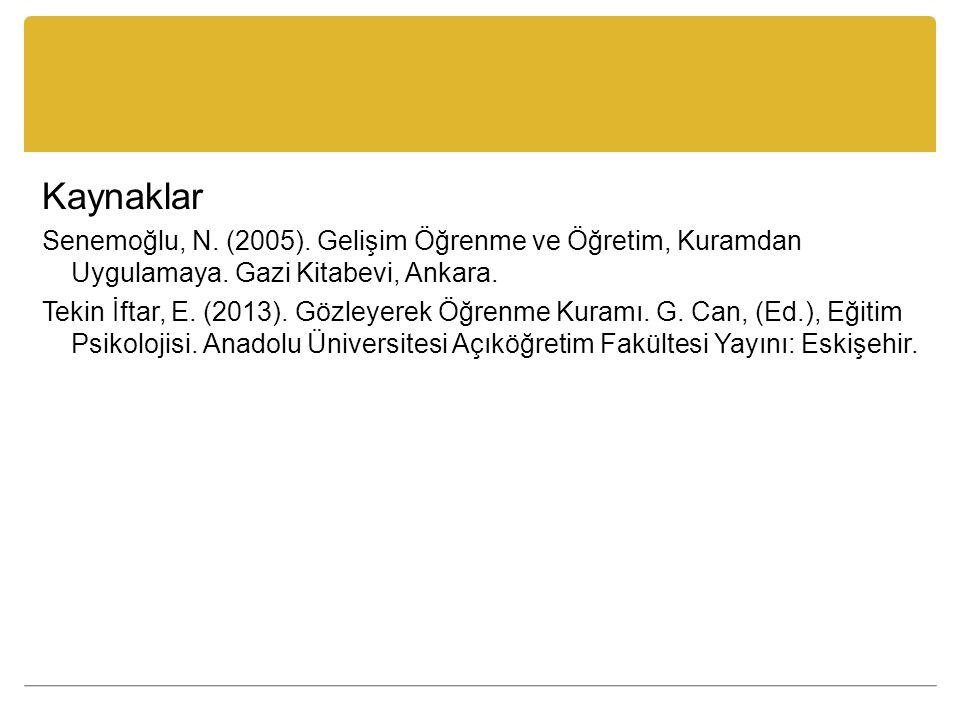 Kaynaklar Senemoğlu, N. (2005). Gelişim Öğrenme ve Öğretim, Kuramdan Uygulamaya. Gazi Kitabevi, Ankara. Tekin İftar, E. (2013). Gözleyerek Öğrenme Kur