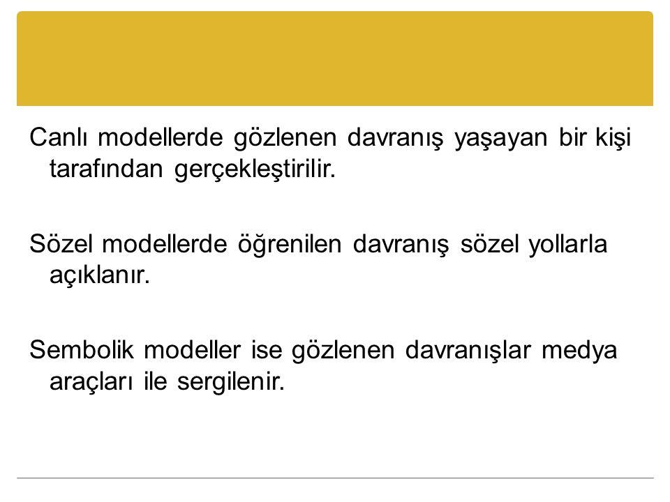 Canlı modellerde gözlenen davranış yaşayan bir kişi tarafından gerçekleştirilir. Sözel modellerde öğrenilen davranış sözel yollarla açıklanır. Semboli